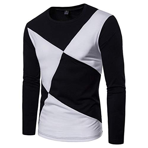 - Hot Sale Men's Casual Long Sleeve T Shirt - vermers Mens Fashion Patchwork Slim Pullover Top Blouse(2XL, Black)