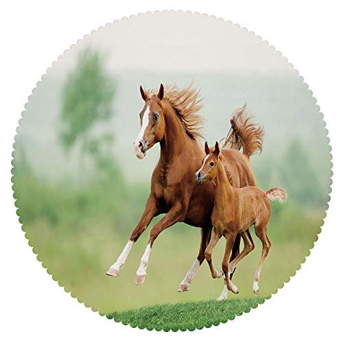 iPrint Mildewproof Round Tablecloth [ Horse Decor,Running Chestnut Horses Mare and Foal Meadow Scenic Summer Day Outdoors,Light Brown Green ] Fabric Home Tablecloth Ideas ()