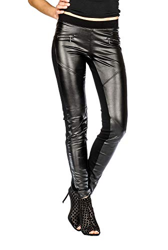 Suko Ponte Leggings for Women with Sexy Faux Leather 17170 Black 12 (Leather Black Soho)