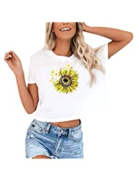 OCEAN-STORE Women T-Shirt Casual O-Neck Crop Tops Funny Print Short Sleeves Short Blouse