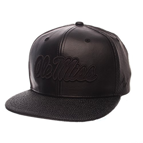 Zephyr NCAA Mississippi Old Miss Rebels Adult Men Mamba Custom Snapback Hat, Adjustable, Black