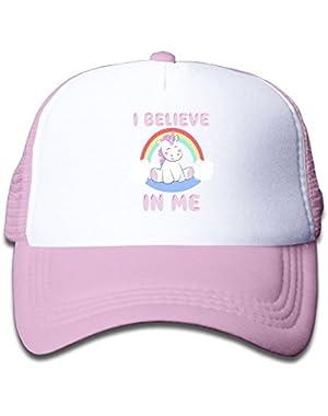 Trucker Caps Boy and Girl Cute Unicorn I Believe In Me Mesh Baseball Hat