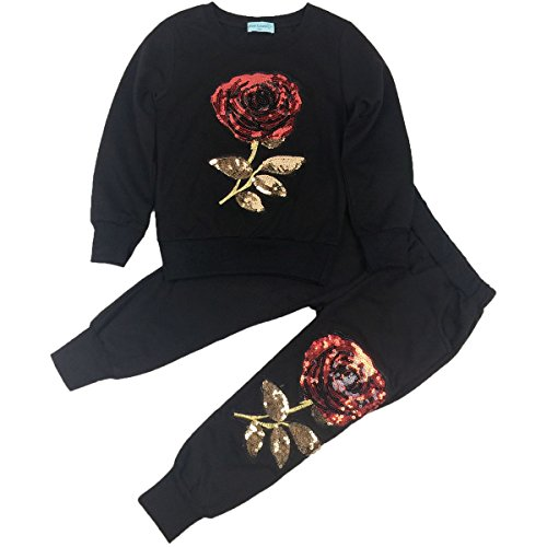 Jastore Baby Girl Cute 2PCS Flower Bow Clothing Set Long Sleeve Top +Plaid Pants (3T, Black Flower)