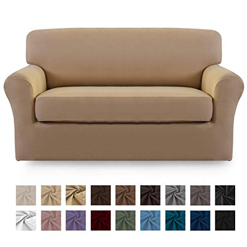 Easy-Going 2 Pieces Microfiber Stretch Sofa Slipcover - Spandex Soft Fitted Sofa Couch Cover, Washable Furniture Protector with Elastic Bottom Kids,Pet (Loveseat,Camel)