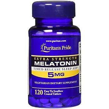 Amazon.com: Puritans Pride Extra Strength Melatonin 5 mg-120 ...