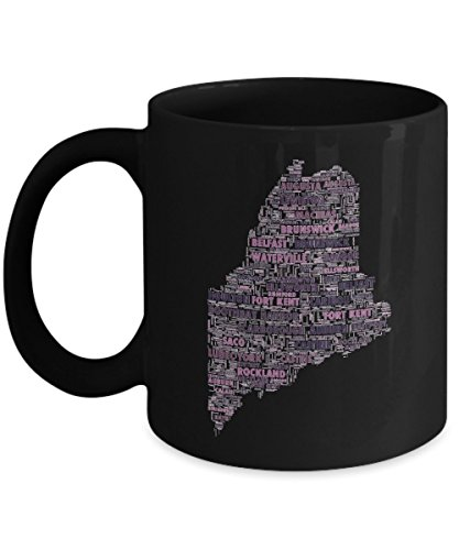 (Maine Cities In The Shape Of The State Black 11 oz Coffee Mug)