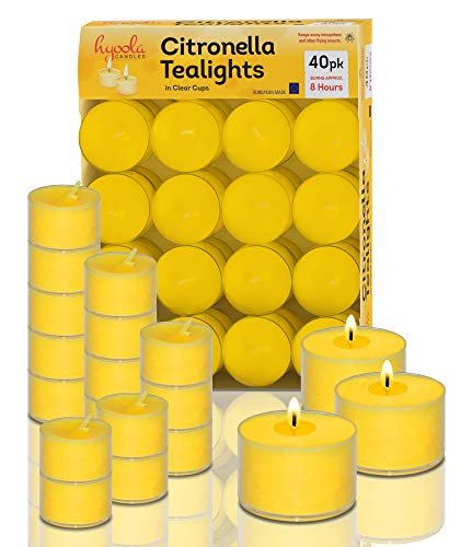 Hyoola Tealight Citronella Candles Outdoor - 8 Hour Burn Time - Indoor and Outdoor Mosquito, Insect and Bug Repellent Citronella Candle - Natural Fresh Scent - Decorative in Clear Cup - 40 Pack