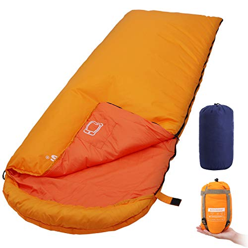SONGMICS Sleeping Bag with Hood for 20℉-50℉, Lightweight & Portable with Compression Sack, for 3 Season Traveling, Camping, Hiking, Backpacking, Outdoor Activities by SONGMICS