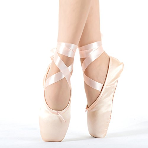 Girls Pointe Shoes Pink Ballet Shoe Leather Sole with Free Gel Silicone Toe Pads and Ribbons (US8.5 (Foot length:9.84 inch))