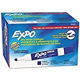 Expo Low Odor Chisel Tip Dry Erase Markers, 12 Blue Markers (80003) Color: Blue Office Supply Product