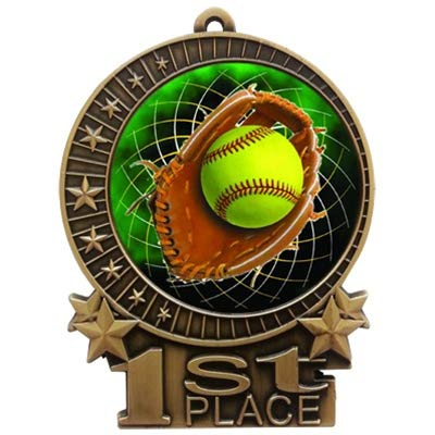 Express Medals Large 3 inch Color Softball 1st Place Medal Gold with 3 Lines of Personalized Free Engraving and Neck Ribbon Award Trophy XMD (10) ()