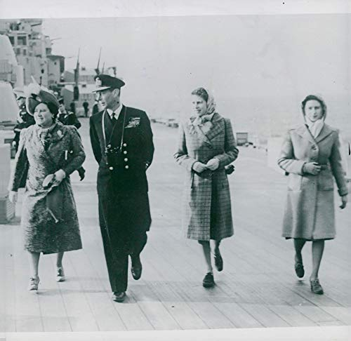 Vintage photo of The English King and Princess Elizabeth and Margaret Rose aboard M.M.S. Vanguard on its way to South Africa