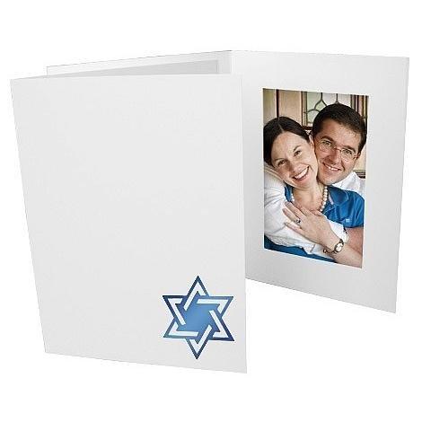 Star of David Judaica Blue foil design on white cardboard photo folder frame Our price is for 50 units - 4x6 by SendAFrame