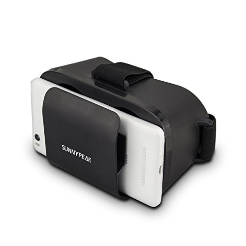 SUNNYPEAK Portable Lightweight VR Goggles Virtual Reality Headset Google Cardboard 3D Video Games Glasses To Get Immersive 3D Experience for iPhone 6 Plus Samsung Note 4 Galaxy LG Moto HTC, Black