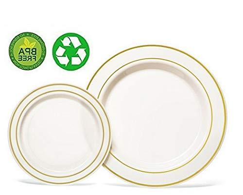 Mikash 10 Plastic Plates Round Trim Party Wedding Dinner Catering Disposable Tableware | Model WDDNGDCRTN - 23224 | 40 pcs