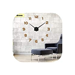 Wall Clock 2019 Clock Watch Wall Clocks Horloge 3D DIY Acrylic Mirror Stickers Home Decoration Living Room Quartz Needle,Chocolate,47Inch