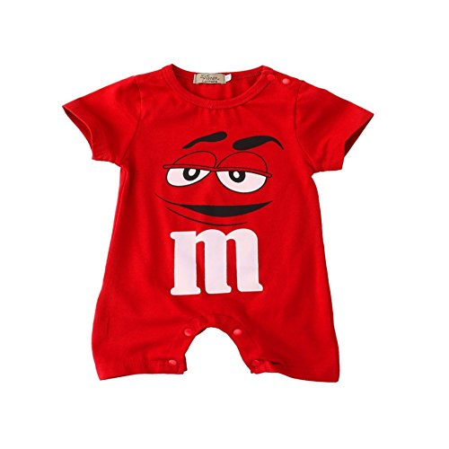 Price comparison product image Peachi M&M Short Sleeve One size Baby Toddler Infant Rompers Unisex 12m-3T (6-12M (27.5inch) Red)