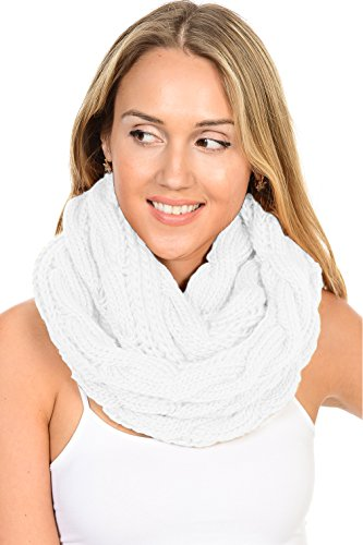 Review Basico Women Winter Chunky Knitted Infinity Scarf Warm Circle Loop Various Colors (Cable Mochi White)