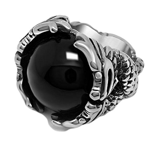 Chariot Trading - Steel Mens Rings With Big Black/Red Stone (SIZE : 7) (Belly Dance Costumes Clearance)