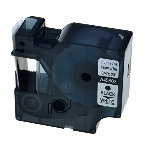- SuperInk 1 Pack Compatible for DYMO D1 45803 Black on White Label Tape LabelManager 300 350 350D 360D 400 420P 450 450D 500TS LabelPoint 300 350 Printer (19mm 7m)
