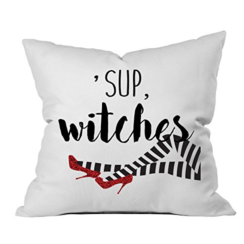 Oh, Susannah Halloween 'Sup Witches Throw Pillow Cover (1 18X 18 inch, Black, Red)]()
