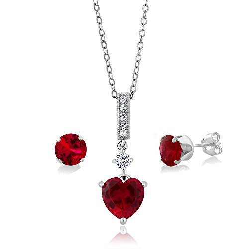 Gem Stone King 2.20 Ct Created Ruby 925 Sterling Silver Heart Shape Pendant with Matching - Ct 2.2 Heart