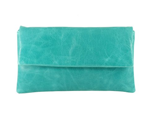 LONI Women's Fine Compact Clutch Wedding Small Light Turquoise -