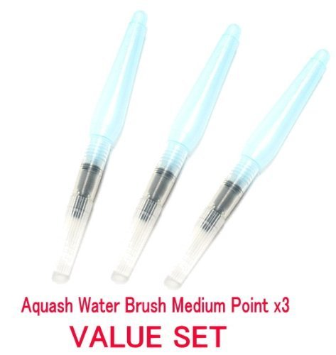 Pentel - Aquash Water Brush Medium Point Set of 3pens Profesional Arts Value Set (With Our Shop Original Description of Goods)