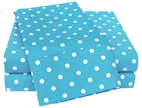 Superior Polka Dot Sheet Set, 600 Thread Count Cotton Blend Bedding Sets, Soft and Wrinkle Resistant Sheets with Deep Fitting Pockets - Queen, ()