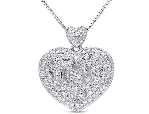 Diamond Locket - Accent Diamond Heart Locket Pendant Necklace in Sterling Silver with Chain