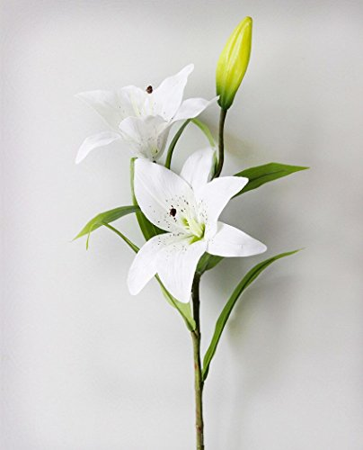 LEFU 5PCS Artificial Lilly Flower Bouquet 2 Head 1 Bud 29.53inch For Home Office Wedding Flower Aarragement (White)