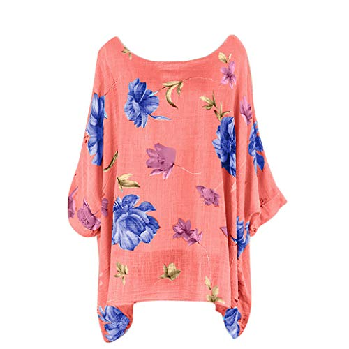 (Ballad Women's Plus Size Tops O-Neck Floral Printing Short Sleeve T-Shirts Loose Easy Tunic Tops Blouses Pink)