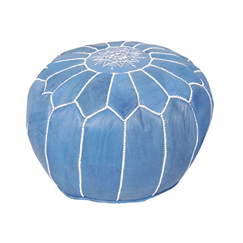 Moroccan Pouf Ottoman Footstool (Leather) Genuine Hand-Stitched Seating | Living Room, Bedroom, Sitting Area (Unstuffed, Blue Jeans) (Light Blue Leather Ottoman)