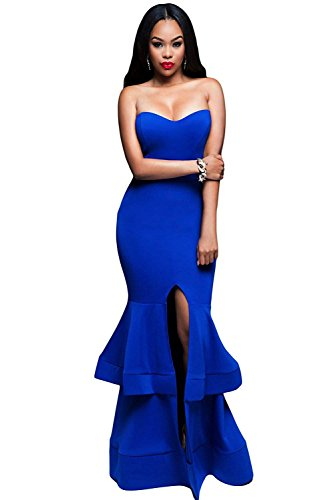 (OUR WINGS Women Off Shoulder Padded Dress Royal Blue Ruffle Split Front Evening Gown,Royal Blue,Medium)