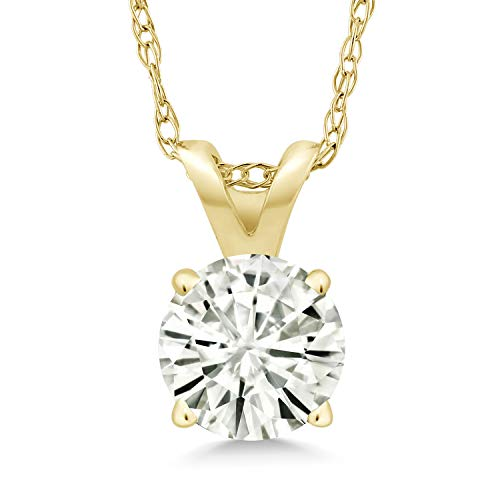 14K Yellow Gold Pendant Forever Classic Round 0.80ct (DEW) Created Moissanite by Charles & Colvard