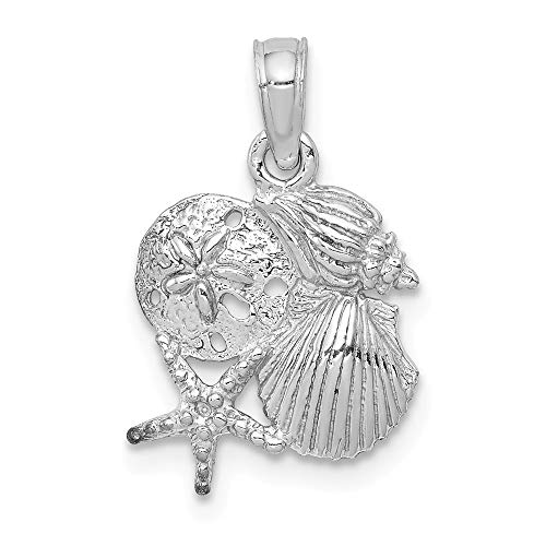 Jewelry Pendants & Charms Themed Charms 14k White Gold Four Shell Mini Cluster Pendant