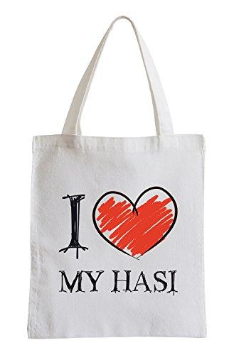 Amo il mio Hasi Fun sacchetto di iuta