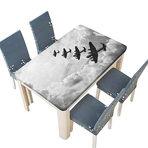 PINAFORE Indoor/Outdoor Polyester Tablecloth Retro Image of Lancaster Bomber Jets from Battle Royal Air Force in Clouds Wedding Restaurant Party Decoration W41 x L80.5 INCH (Elastic Edge)