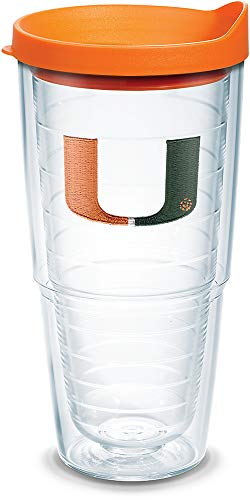 Tervis 1058458 Miami Hurricanes Logo Tumbler with Emblem and Orange Lid 24oz, Clear ()