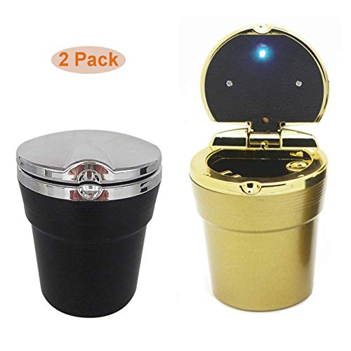 Elite Brands USA Car Cupholder Outdoor Ashtray with Lid and LED Light, Ideal Premium Car Accessory, Use as Ashbox Butt Bucket Waste Basket, Odourless, Value Pack of 2 (Gold-Black)