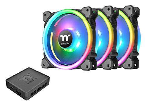 Thermaltake Riing Trio 140mm Circular 12 LED RGB High Static Pressure Radiator Fan TT Premium Edition Case Fans - 3 Pack CL-F077-PL14SW-A (Best Static Pressure Rgb Fans)