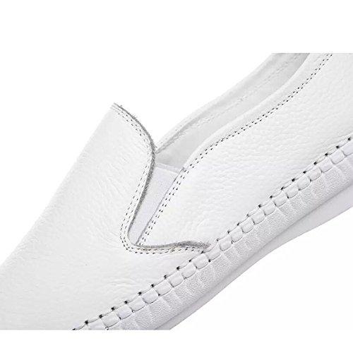 Shenn Mujer Moda Respirable Casual Bajo-top Cuero Entrenadores Zapatos 7700 Blanco