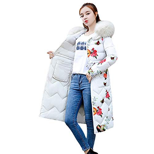 2018 Plus Size Women Winter Coat Down Jacket Vovotrade Ladies Fashion Flower Print Hooded Jackets Slim Long Coat Thick Warm Parka Outerwear Size M-3XL Both Sides Wearing White