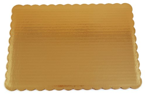 Southern Champion Tray 1645 Sturdy Corrugated Single Wall Cake Pad, Quarter Sheet, Gold Metallic, Greaseproof, 14