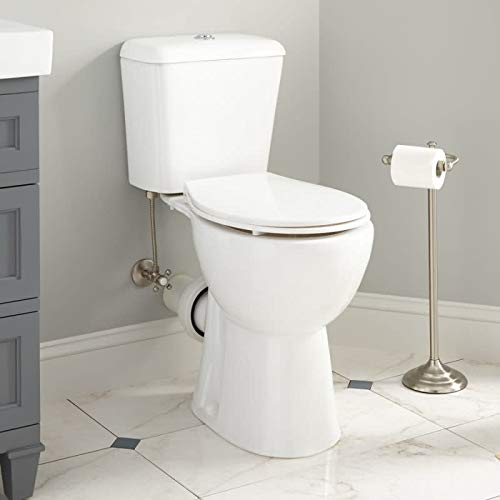 Signature Hardware 350102 Elkinson 1.6/0.8 GPF Two Piece Round Chair Height Toilet with Rear Outlet - Seat Included