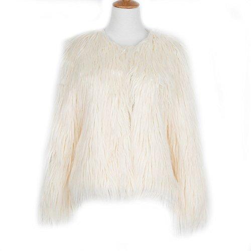 LLQ Abrigo para Mujer Invierno Piel Abrigo Mujer Caliente Chaqueta Piel Long Section Ropa Mujer Fur Coat Fur jacket Mujer Abrigo Pelo Invierno(Negro) Beige