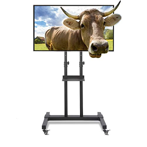 TAVR Tall Rolling Mobile TV Cart Floor Stand with Height Adjustable Mount and Audio for 32 40 42 47 50 55 60 65 70