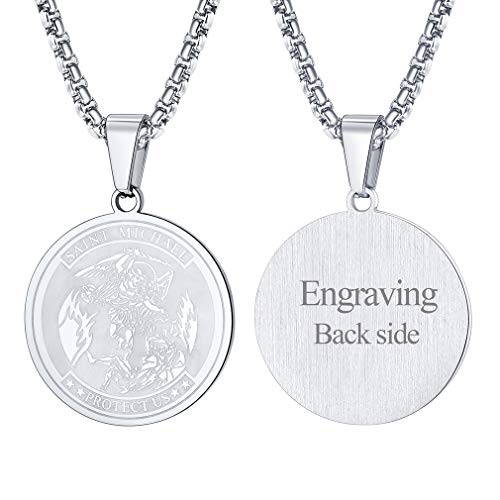 - FaithHeart Saint Michael Pendant Necklace, Custom Engravable St. Michael The Archangel Necklace Jewelry (Round/Silver)