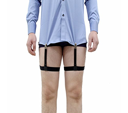 Jelinda® Mens Dress Shirt Stays Leg Thigh Suspender Garters Keep Shirt Tucked in with Non-slip Locking Clamps (A metal)