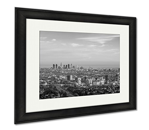 Ashley Framed Prints Downtown Los Angeles Skyline At Sunrise Showing Smog And Pollution  Modern Room Accent Piece  Black White  34X40  Frame Size   Black Frame  Ag6443170